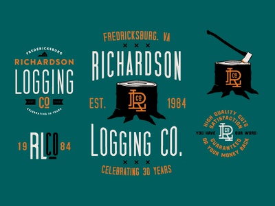 Richardson Logging tree axe logging logo logotype identity branding typography type design illustration