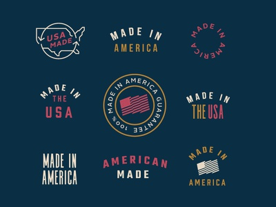 Made in the USA badge apparel identity branding illustration design lettering typography type