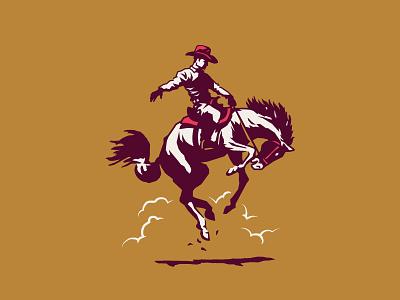 Rodeo cowboy bull bronco rodeo horse shirt apparel identity branding design illustration
