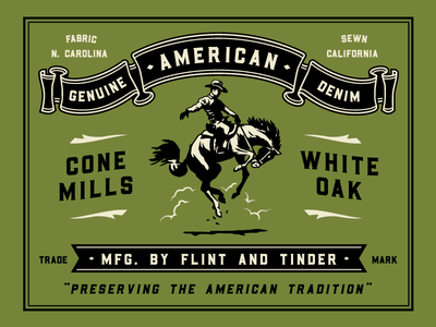 An American Classic horse denim logotype shirt apparel identity branding typography type design illustration
