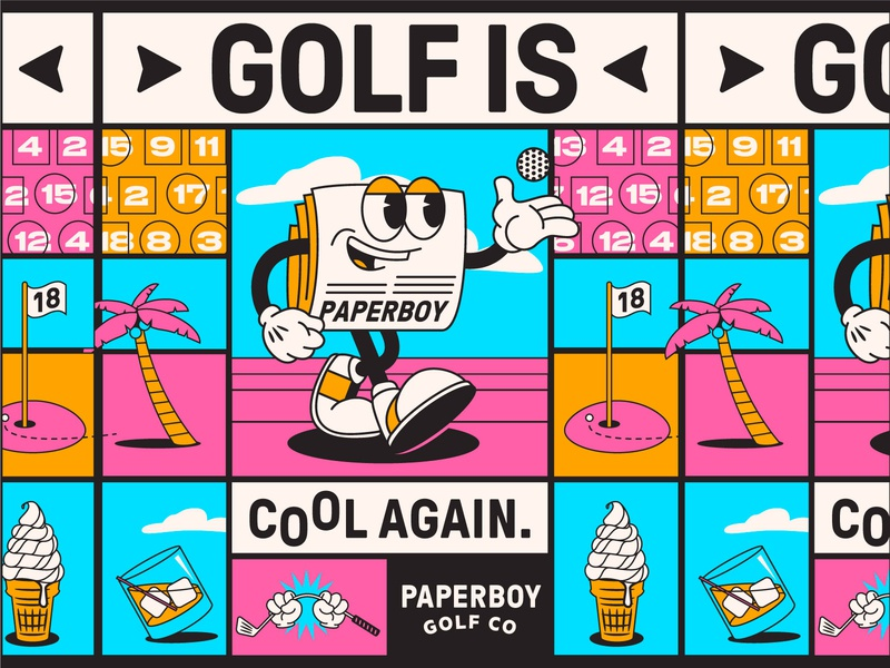 Paperboy Golf Co. character art mascot logo mascot character badge graphic lettering typography apparel branding identity design illustration