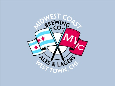 Midwest Coast Brewing shirt apparel beer brewery flag chicago badge branding illustration