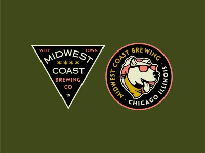 Midwest Coast Brewing patch dog brewery brewing chicago shirt apparel vector branding design badges