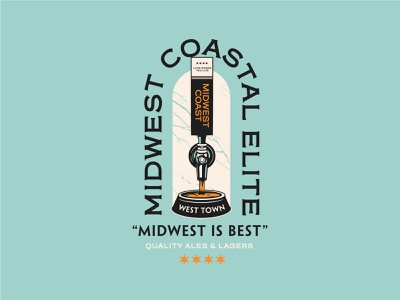 Midwest Coastal Elite badge graphic shirt typography apparel vector type branding illustration design
