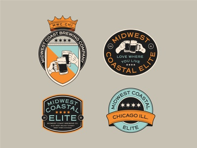 Midwest Coastal Elite identity logo branding sticker pin badge graphic shirt apparel vector illustration design