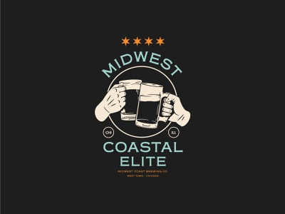 Midwest Coastal Elite chicago brewery beer badge graphic shirt vector apparel branding identity illustration design