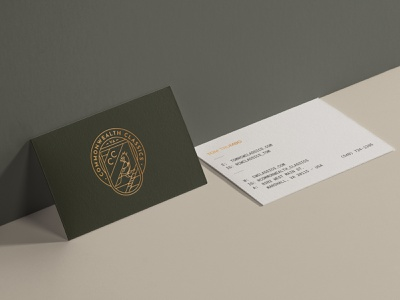 Commonwealth Classics Business Cards mockup print collateral business card vector logo type branding identity design
