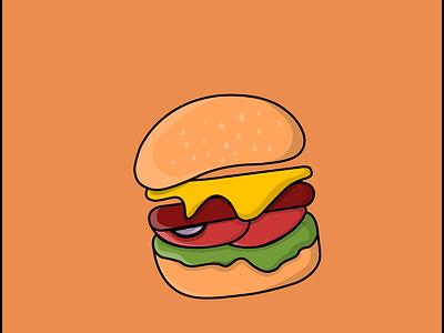 Burger Food - Vector Illustration flatdesign concept vector cartoon animation logo illustration flat design junkfood burger food