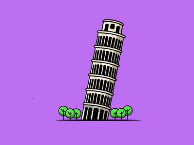 Pisa Tower holiday italy landmark building tower icon vector flat illustration design cartoon
