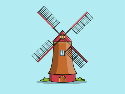 Netherlands Windmill netherlands culture agricultural architecture building icon vector illustration flat design cartoon