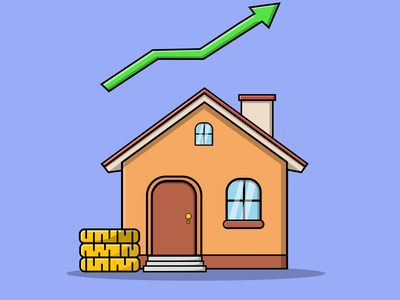 House Prices Statistic and Gold graphic design business finance property house cartoon vector illustration design