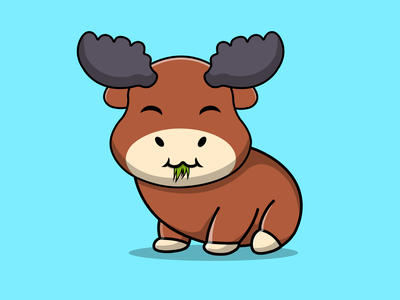 Cute Moose Eating Grass vegetarian grass eating food drink moose animal cute flat cartoon vector illustration design