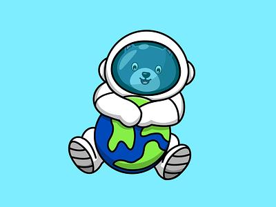 Cute Cat Astronaut Hanging World science planet world space astronaut mascot animal graphic design cute logo flat cartoon vector illustration design