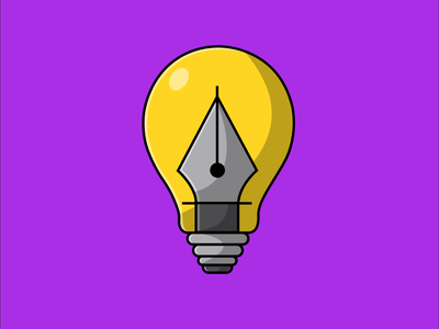 Lamp With Pen Tool graphic design tool adobe illustrator pentool lamp icon logo flat cartoon vector illustration design