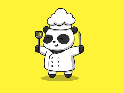 Cute Panda Chef Holding Spatula And Knife For Coocking graphic design icon character restaurants chef food coocking mascot logo flat cartoon vector illustration design