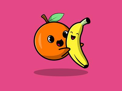 Cute Orange Hug Banana icon graphic design loving cute food fruit orange banana mascot logo flat cartoon vector illustration design
