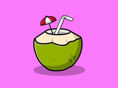 Coconut Ice With Straw graphic design summer food drink green nature fresh fruit flat mascot logo cartoon vector illustration design