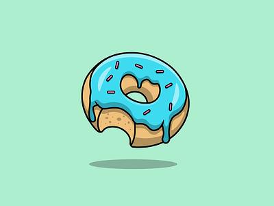 Melting Doughnut graphic design dessert tasty sweet food branding logo flat cartoon vector illustration design