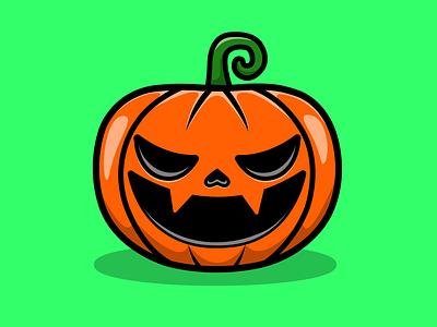 Pumpkin Hallowen graphicdesign fantasy horror scary thanksgiving hallowen branding mascot logo flat cartoon vector illustration design