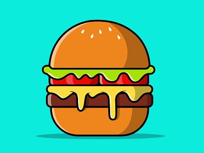 Burger Melted Illustration meal