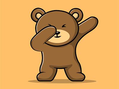 Cute Teddy Bear Dubbing Illustration fur