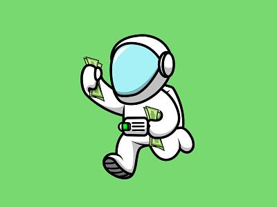 Cute Astronaut Running With Holding Money helmet