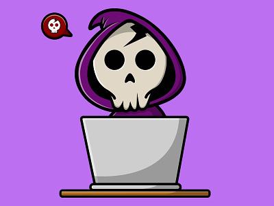 Grim Reaper Using Laptop deadline