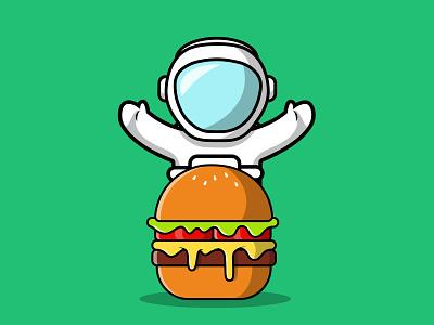 Cute Astronaut With Burger man