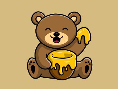 Cute Teddy Bear Eat Honey cute
