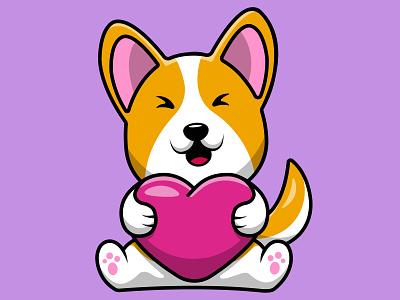 Cute Corgi Dog Holding Heart Love fur