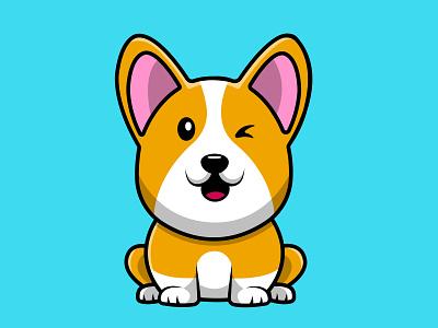 Cute Corgi Dog Sitting happy