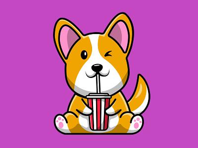 Cute Corgi Dog Drink Soda hound