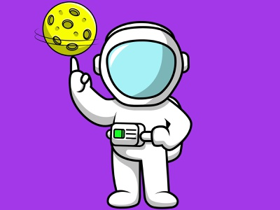 Cute Astronaut Playing Moon play