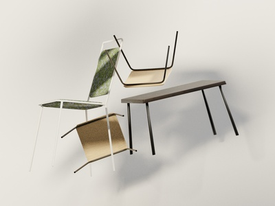 Chairs in the Sun (1) shadows sun floating furniture chairs textures materials procedural illustration blender 3d art 3d