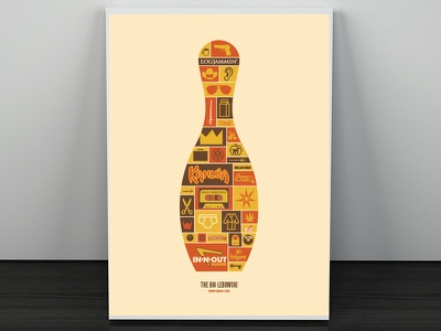 The Big Lebowski Poster coen brothers bowling big lebowski poster film screen print icon logo draplin