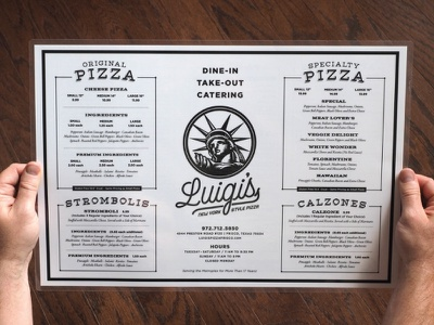 Luigis Menu branding print italian dallas texas restaurant menu