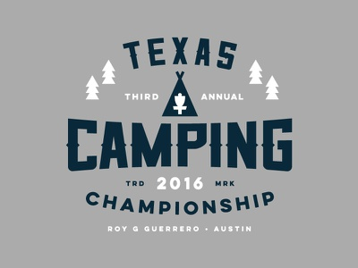 Texas Camping Championship Identity tent texas trees austin camping badge patch logo disc golf