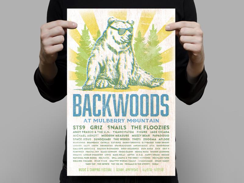 Backwoods Gig Poster rave mulberry mountain arkansas edm music festival music gig poster screenprint poster