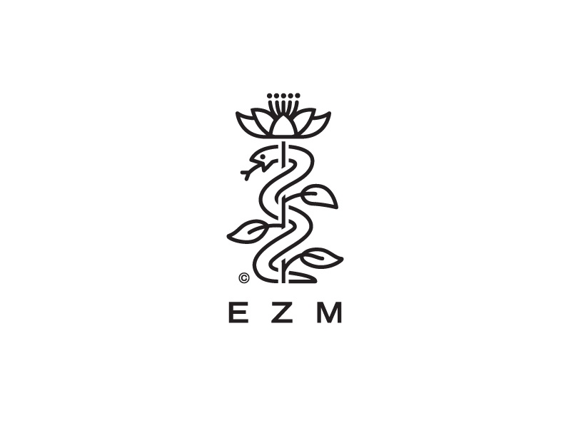 EZM logo snake plant nature herbal flower clematis medicine pharmaceutical pharmacy medical