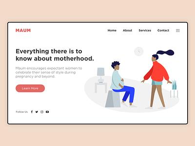 Dribble Maum website concept hero shapes business ux typography branding vector illustration design ui