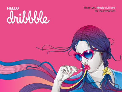 Hello Dribbble! first post first shot sexy girl sweet candle candy lollipop photoshop figma pop art art hand drawn vector branding illustration design hellodribbble hello dribble
