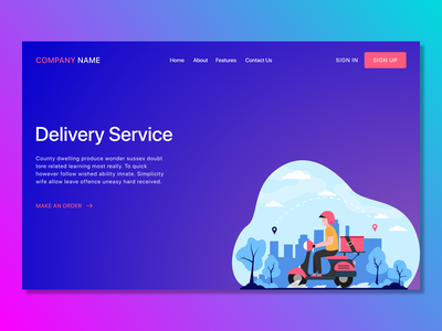 Delivery Service site design vector illustration delivery minimalistic web design site concept colorful visual visual design simple home page typography vector ux ui illustration dark theme art figma design
