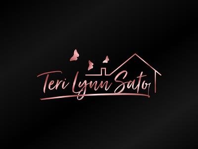 Logo for real estate agent luxury golden rosegold real estate gradient typography vector art figma branding concept design logo