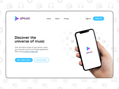 Music app site's hero visual hero section gradient ux mobile app pattern music app music minimalistic web ui logo typography vector concept figma design