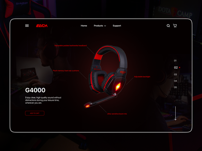 Gaming devices site's hero gaming website gaming vector modern hero section web gradient visual dark theme minimalistic ux ui concept figma design