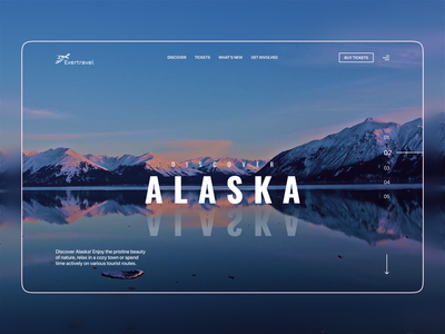 Tourist agency website's hero section agency website tourism website tourism trip travel alaska modern web design website design web hero section visual minimalistic typography vector ux ui concept figma design