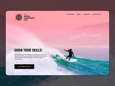 Surf tournament hero tournament surfing surf handwritten font web design webdesign web modern hero section visual gradient ui ux minimalistic logo typography concept vector figma design