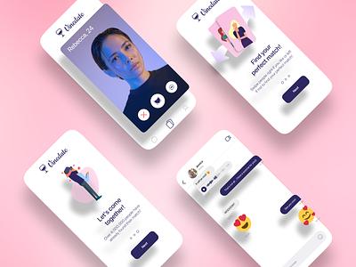 Dating mobile app dates dating dating app messages chat modern mobile app mobile design visual visual design graphic design 3d illustration ui minimalistic typography vector concept figma design
