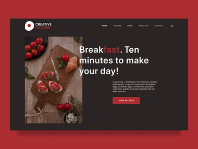 Creative Kitchen hero section stylish meal restaurant kitchen food modern site dark theme web design visual visual design ux ui minimalistic concept design figma
