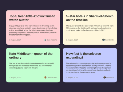 Article banners composition contrast colorful blogs typography copywriting web design banners articles modern ui ux minimalistic concept figma design